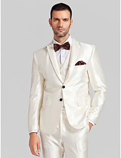 White Polyester Tailored Fit Three-Piece Tuxedo