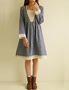 äitiys muotia ja vintage pitsi pitkähihainen mekko