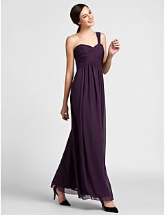 Lanting Bride® עד הריצפה שיפון שמלה לשושבינה - מעטפת \ עמוד כתפיה אחת פלאס סייז (מידה גדולה) / פטיט עם תד נשפך / בד בהצלבה