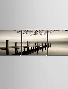 Strakt lærred Art Landskab Bridge Cross Sea Sæt af 3
