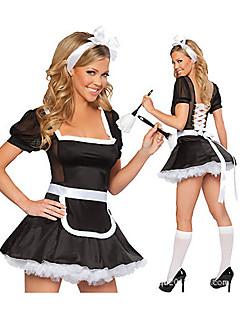 Sexy Girl Svartvitt Terylene Maid kostym