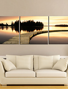 Stretched Canvas Art Sunset Waterside Set of 3