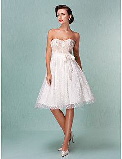 Lanting Bride A-line / Princess Petite / Plus Sizes Wedding Dress-Knee-length Sweetheart Tulle
