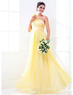 Lanting Bride® Longo Cetim Elástico / Georgette Vestido de Madrinha - Linha A Mula Manca Tamanhos Grandes / Mignon comFlor(es) / Drapeado