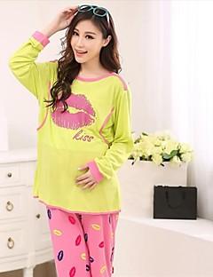 Maternity's Fashion Lip Prints Breastfeeding Pajamas Clothing Set
