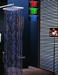 12 inch thermostatische regendouche kraan, leidde temperatuurgevoelige 3 kleuren douchekop en messing handdouche