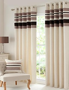 Room Darkening Polyester Linen with Pleated Band lined Curtain (Two Panel)