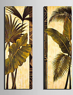Stretched Canvas Art Botanical Green Leaves Set of 2