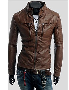 PIKE Men's Stand Collar Motorcycle Leather