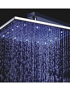 12 inch vierkante messing regendouche met 3 kleuren temperatuurgevoelige geleid