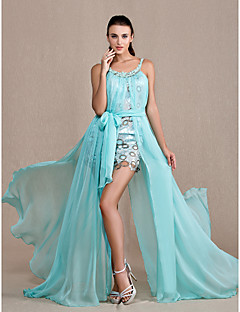 Formal Evening / Prom / Military Ball Dress - Multi-color Plus Sizes / Petite A-line / Princess Scoop Floor-length Chiffon / Lace