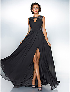 Formal Evening / Military Ball Dress - Plus Size / Petite A-line / Princess Jewel Sweep/Brush Train Chiffon / Sequined