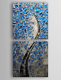 Peint à la main Peinture à l'huile florale chanceux bleu avec cadre étiré Lot de 2 1309-FL0893