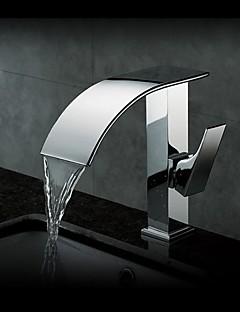 charmingwater contemporanea ottone cascata cromata singola maniglia lavandino rubinetto del bagno