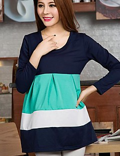 Maternity Round Collar Contrast Color Dress (More Colors)
