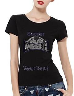 mangas curtas strass personalizado vencedor camisetas de futebol padrão de algodão das mulheres