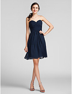 Lanting Bride® Knee-length Chiffon Bridesmaid Dress - Sheath / Column Sweetheart Plus Size / Petite with Draping / Criss Cross