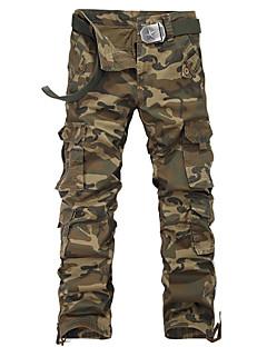 Menn Fritid / Sport / Plusstørrelse Ruter / Ensfarget / Camouflage Chinos,Bomull / Polyester Grønn / Gul