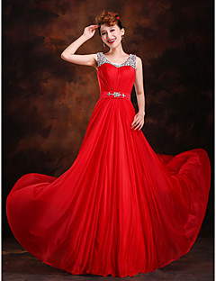 A-Line Princess Scoop Neck Sweep / Brush Train Silk Evening Dress with Beading
