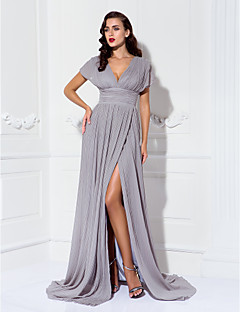 Formal Evening / Military Ball / Black Tie Gala Dress - Furcal / Elegant Plus Size / Petite Sheath / Column V-neck Sweep / Brush Train