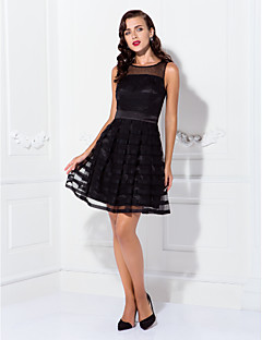 Homecoming Cocktail Party/Holiday Dress - Black Plus Sizes A-line Bateau Short/Mini Tulle/Stretch Satin