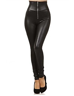 Women's Front Zipper Imitation Leather Leggings