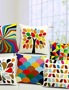 ensemble de 6 coton / lin taie d'oreiller décoratif multicolore