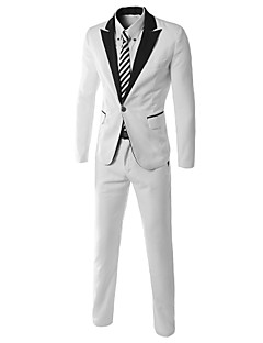 JOGAL Men's Casual/Work/Formal Pure Long Sleeve Regular Sets (Cotton/Cotton Blends)