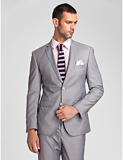 Suits Tailored Fit Slim Notch Single Breasted Two-buttons Polyester 2 Pieces Gray Straight Flapped None (Flat Front) None (Flat Front)