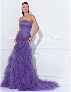 TS Couture® Prom / Formal Evening Dress - Elegant / Vintage Inspired Plus Size / Petite Trumpet / Mermaid Strapless Court Train Tulle with Criss Cross