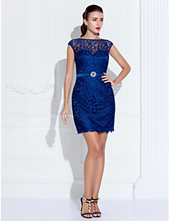 hjemkomstcocktailparty / homecoming / ferie dress - mørk marineblå pluss størrelser skjede / kolonne scoop kort / mini lace