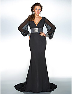 TS Couture Formal Evening / Military Ball Dress - Black Plus Sizes / Petite Trumpet/Mermaid V-neck Sweep/Brush Train Chiffon