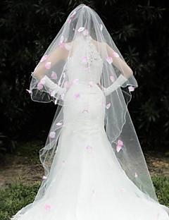 """הינומות חתונה שכבה אחת כיסויי ראש עם הינומה קצה חרוזים 110.24 אינץ' (280 ס""""מ) אורגנזה"""