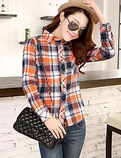 Women's Casual/Daily Simple Spring / Fall / Winter Shirt,Plaid Long Sleeve Blue / Red / Green / Orange Cotton Medium