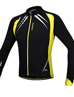 SANTIC Cycling Jacket Men's Long Sleeve Bike Jacket Jersey TopsThermal / Warm Windproof Anatomic Design Fleece Lining Front Zipper