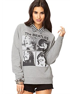Women's Gray Hoodies , Casual Long Sleeve