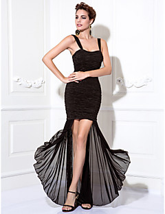 TS Couture Cocktail Party / Prom Dress - Black Plus Sizes / Petite Sheath/Column Straps Tea-length Chiffon / Stretch Satin