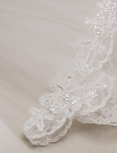 Wedding Veil Two-tier Elbow Veils Lace Applique Edge 31.5 in (80cm) Tulle