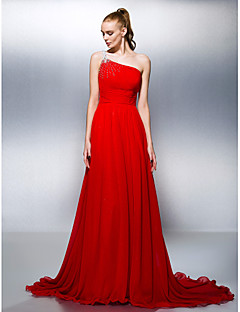 Formal Evening Dress - Ruby Plus Sizes / Petite A-line / Princess One Shoulder Court Train Georgette