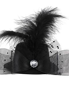 hat-formet med krystal fjer mesh hårnål sort (1pc)