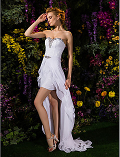 Sheath/Column Wedding Dress - White Asymmetrical Sweetheart Chiffon/Lace