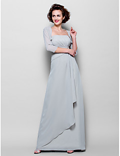 Sheath/Column Plus Sizes / Petite Mother of the Bride Dress - Silver Floor-length 3/4 Length Sleeve Chiffon