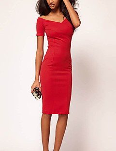 Homecoming Cocktail Party Dress - Ruby/Black Sheath/Column Scoop Knee-length Polyester