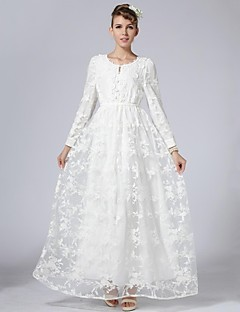 Women's Party/Cocktail Swing Dress,Solid Round Neck Maxi Long Sleeve White Silk / Polyester Spring / Fall / Winter