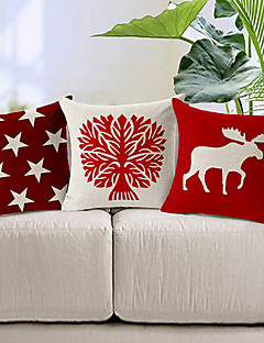 set om 3 röda och vit bomull / linne dekorativa örngott
