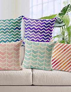 uppsättning av 5 geometriskt mönster bomull / linne dekorativa örngott