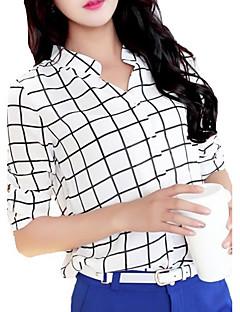 Camicia Da donna Casual Semplice Primavera / Estate / Autunno,A quadri Poliestere Bianco Maniche a ¾ Sottile
