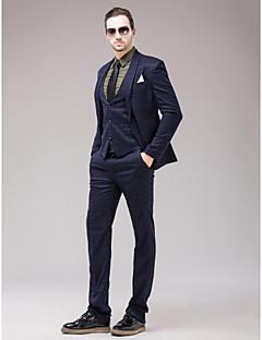 Dark Navy Polyester Slim Fit Three-Piece Suit
