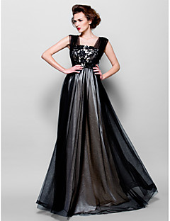 Formal Evening Dress - Black Plus Sizes / Petite A-line Square Floor-length Tulle