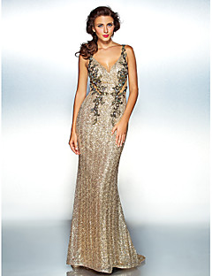 Homecoming Dress Sheath/Column V-neck Floor-length Sequined
